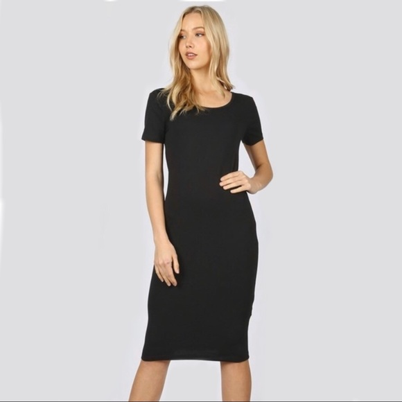 Zenana Premium Dresses & Skirts - Zenana Black Fitted Midi Short Sleeve Dress Small